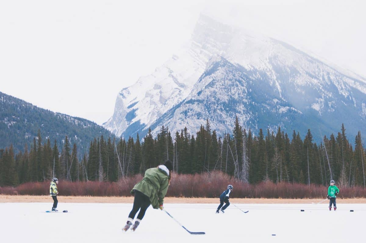 hockey players outdoors