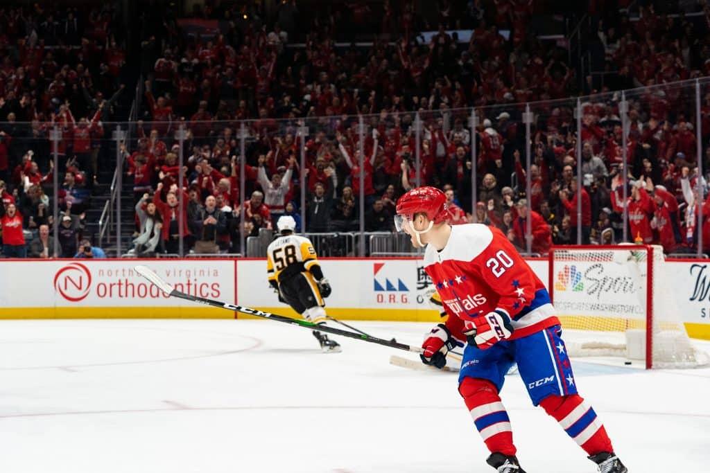 hockey game warm-ups